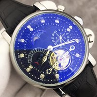 Wholesale moon phase calendar mechanical resale online - Top Luxury Watch Swiss Brand Automatic Mechanical Hand Winding Watch Diamonds Moon Phase Watches Calendar Black Leather Casual Watch Mens