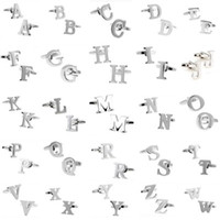 Wholesale men s cufflink shirts resale online - A To Z Letter Cufflinks Novelty Person Customized Initials Letters Silver French Shirt Men S Cuff Links Fashion Jewelry Gifts Cheap