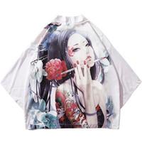 japanese kimono geisha al por mayor-Camisas 2019 Harajuku Kimono Chaqueta Japonesa Ukiyoe Floral Geisha Tatuaje Hip Hop Hombres Streetwear Chaqueta Abrigo Verano Vestido fino Estilo Japón