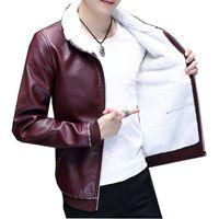 кожаная куртка с меховой подкладкой оптовых-Мода мужчины зима кожаная куртка коричневый кожаная куртка большой размер искусственного меха подкладка пальто Зима искусственного PY176