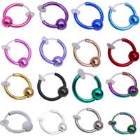 ingrosso i monili del corpo falsi-Fake Ear Ring Hoop Plugs e Tunnels Real Nose Piercing Body Jewelry Nessun buco! Fermaglio non cerato (orlo, orecchie, naso) Clip On One Earrings