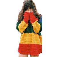 mulher arco-íris suéter venda por atacado-Camisola das mulheres Arco Íris Retro Rua Europa e América Solta Listrado Camisola Do Pulôver Camisola Das Senhoras Tamanho Livre
