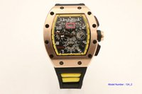 Wholesale hand bands sport for sale - Group buy hot sell Man watch Flyback yellow watch rubber band gold case mm Automatic machinery watch
