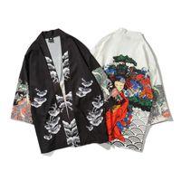 batas estilo kimono de mujer al por mayor-Estilo japonés kimono yukata mujer y hombre túnica corta suelta kimomo rebeca japonesa kimono haori protectores de erupción