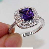 Wholesale 925 sterling silver 8mm resale online - Fashion jewelry Nice Emerald Cut mm Amethyst Diamonique sterling Silver filled for Women Engagement Wedding Ring Size gift
