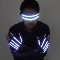 geführte bühnenkostüme großhandel-Helle LED-Bühnenkostüme LED-Handschuhe, leuchtende LED-Brillen, Partyzubehör für Laser-Bühnenrequisiten