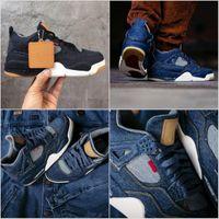 Wholesale split jeans resale online - Hottest Denim NRG LS Jeans Travis Joint Limited Blue s IV Black Man Basketball Shoes Sneakers Authentic Quality AO2571