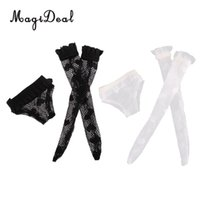 cueca do vestido preto pvc venda por atacado-Boneca de moda Lace Underwear Meias Set para Blythe Doll Dress Up Acessório Menina Presentes Preto Branco