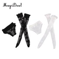 siyah elbise çorap toptan satış-Moda Bebek Blythe Doll için Dantel İç Çorap Set Giyinmek Aksesuar Kız Hediyeler Siyah Beyaz