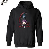 tokyo ghoul sweatshirt groihandel-Klassische Anime Tokyo Ghoul Print Hoodies mit Kapuze Männer Cool in Crazy Ken Kaneki Große Größe Hoodies Männer Sweatshirt Straße