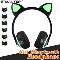 Wholesale white cat ears iphone resale online - ETMAXTER Cat ear Headphones Foldable Bluetooth Flashing Glowing Headsets with LED Light for iPhone Xs X S Samsung Any Phone