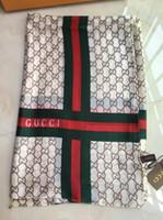 venta de hilo bufanda al por mayor-100% bufanda de seda grande bufanda cuadrada de la letra de las mujeres de alta calidad envuelta en 180 * 90 cm de la bufanda caliente 3colors carta impreso con la primavera