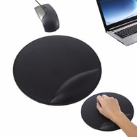 Wholesale leather wrist supports resale online - Black D Leather Mouse Pad With Wrist Rest Ergonomic Office Soft Sponge Support Mat Round cm Good Quality C26