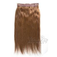 brezilya düz saç rengi toptan satış-Brezilyalı Düz Renk uzantıları Uzantıları Saç 12-30 Inç 1 Adet Set 120g 140g 160g Halo Olmayan remy Lady İnsan Saç Uzantıları