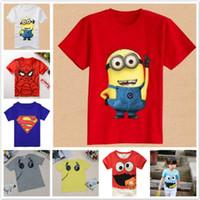 impresión minion al por mayor-2017 camisetas de verano para niños Spiderman Superman Minions algodón de manga corta camiseta de dibujos animados para niños de impresión de bebés niños niñas ropa