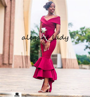 Wholesale yellow low front formal dress resale online - Fuchsia Mermaid Bridesmaid Dresses Sexy Off Shoulder African Women Formal Party Dress Hi Low Satin Wedding Guest Gowns