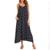bea00fbc28d Summer Strappy Dress Women V Neck Pocket Loose Backless Long Beach Dresses  Female Sexy Sleeveless Halter Sundress