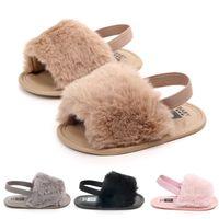 Wholesale infant toddler slippers for sale - Group buy Baby Girls Fur sandals Fashion design infant Fur Slippers Warm Soft Kids home shoes children toddler solid color