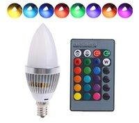 lampara led 3x1w al por mayor-LED E14 3W RGB 15 colores que cambian la lámpara del bulbo de luz de la vela w / control remoto AC85-265V