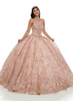 2020 Gorgeous Rose Pink Quinceanera Dresses Vestidos De Festia Glitter Tulle Beading Crystal Jewel Lace-up Ball Gown Skirt Prom Evening Gown