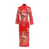 vintage chinese ipek cheongsam elbise toptan satış-Shanghai Hikaye Sahte Ipek Çiçek Qipao eski çin tarzı elbise Çin Oryantal elbise Tavuskuşu cheongsam Uzun