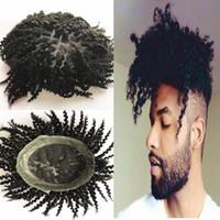 dentelle de cheveux pour les hommes achat en gros de-Afro Curly Toupee Suisse Dentelle Avec L'unité Pu Autour De Toupee Hairpiece Profondément Bouclés Toupee de Cheveux Humains Pour Les Hommes Noirs Système de Remplacement Des Cheveux Naturels