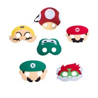 erkek parti elbiseleri toptan satış-6 adet Süper Mario Bros Çocuklar Çocuklar için Maske Cosplay Parti Maskeleri Erkek Kız Doğum Günü Partisi Dekorasyon Cadılar Bayramı Giydir Favor Hediyeler