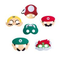 kindjunge verkleiden sich großhandel-6 stück Super Mario Bros Kinder Maske Cosplay Partei Masken für Kinder Jungen Mädchen Geburtstagsparty Dekoration Halloween Dress Up Favor Geschenke