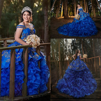 Wholesale gold sweet 16 for sale - Group buy Royal Blue Ruffles Tiered Skirt Quinceanera Dresses Gold Lace Embroidery Ball Gown Sweet Appliques Alluring Girls Evening Gowns