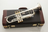 Wholesale instrument trumpet silver resale online - Hot New Product LT197S Trumpet B Flat Silver Plated Popular instruments Music With Case
