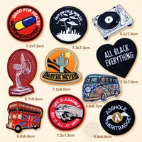 Wholesale car embroidered patches resale online - CAR UFO ALIEN HAND Embroidered Patch Applique Cute Patches Fabric Badge Garment DIY Apparel Accessories Badges