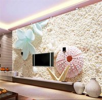 Wholesale starfish bedding resale online - custom size d wallpaper photo wallpaper living room bed room mural flower beach starfish picture sofa backdrop wallpaper non woven sticker