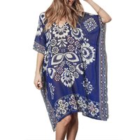 полуотдельное платье оптовых-Womens Summer Chiffon Deep V-Neck Beach Dress Ethnic Retro Geometric Floral Printed Bikini Cover Up Semi Sheer Oversized Loose P