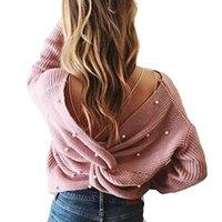 jersey de suéter dulce al por mayor-Pearl Beading V Neck Twist Sweater Sweet Burgundy Mujeres Jerseys Punto Jumper Manga larga Casual Solid Sweater pull femme
