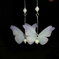 púrpura cobre mariposa al por mayor-Pendientes de mariposa Más que un pedazo de azul claro Púrpura Gasa Fantasía Mariposa Cristal Gotas de cobre Accesorios con gran grano pequeño