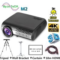 Wholesale tripod inch resale online - Poner Saund M2 K K FULL HD LED projector Lumens D Home Theatre Support HDMI USB VGA AV Vs led9 inch curtain tripod M HDMI