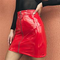 estilo saia de couro venda por atacado-2019 mais novo hot sexy mulheres bandage pu couro mini saias estilo zipper cintura alta saias sexy roupas para senhoras
