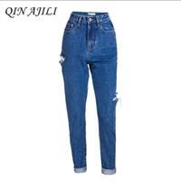 a61a89d68 calças de algodão senhoras buracos venda por atacado-QIN AJILI Mulheres  Jeans para Femme Azul
