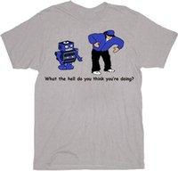 robô cinzento venda por atacado-Adulto Mens Robot Dance Que Inferno Você Acha Que Está Fazendo T-shirt Cinza Teefunny 100% camiseta de Algodão