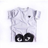 camisa azul lunares blancos al por mayor-Camiseta de diseñadores de alta calidad al por mayor de amante Hot HOLIDAY Red Blue Heart Emoji Polka Dot With Upside Down Heart T-Shirt (Blanco)
