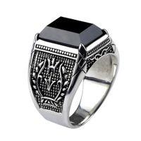ingrosso mens anello nero pietra-Anello d'epoca da uomo vero argento 925 gioielli in argento nero ossidiana anelli di pietra naturale per gli uomini Punk Rock Fashion J190625