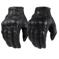 deri motokros eldivenleri toptan satış-Retro Pursuit Delikli Gerçek Deri Motosiklet Eldiven Moto Su geçirmez eldivenler Motosiklet Güvenlik Malzemeleri Motocross Eldiven hediye