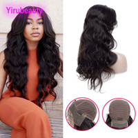 Wholesale mongolian human hair wigs online - Brazilian Virgin Hair Indian Human Hair Lace Front Wigs Straight Body Wave inch Natural Black Pre Plucked Lace Front Wigs