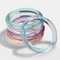 brazaletes de acrílico transparente al por mayor-Cool Summer Acetic Acrylic Bangles Bracelets Transparent Clear Acrylic Resin Bangle Bracelet para mujeres