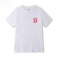 nuevas mujeres de la llegada camisetas al por mayor-2019 Nueva llegada camiseta de algodón de verano James 23 Carta de impresión de la camiseta colorida camiseta ocasional hombres mujeres Hip Hop Tee Tops