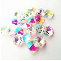 piezas de cristales de araña de cristal al por mayor-Envío gratis 100 unids Rainbow 14 mm Crystal Glass Octagon Chandelier Parte Beads en 1 agujeros para Diy Garland Strands decoración del hogar