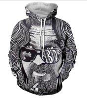 büyük kapüşonlu erkekler toptan satış-Sıcak Moda Erkekler / Kadınlar Harajuku Tarzı Büyük Lebowski Roket Kapşonlu Hoodies 3D Baskı Unisex Toptan ve Perakende RW0142 Tops