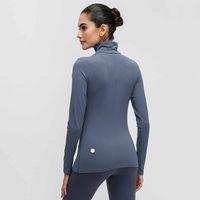 spor tişörtleri yaka toptan satış-Kadın Spor Uzun Kollu T-Shirt Nefes Yoga Spor Tayt Hızlı Kuru Elbise L-012 Koşu Açık Kadın Katı Renk Yüksek Yaka