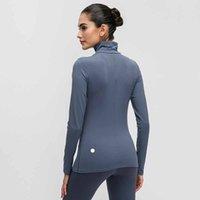 tops rápidos venda por atacado-Luva Sports T-shirt longo das mulheres cor sólida Colarinho alto de mulheres ao ar livre Correndo respirável Yoga fitness justas Quick Dry Clothes L-012