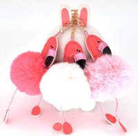 animales esponjosos al por mayor-Llavero lindo del pompón del flamenco Fluffy Artificial Rabbit Fur Hairball Llaveros Animal Bird Women Car Bag Llavero Regalo